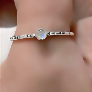 925 Sterling Silver Etched/Grooved Moonstone Ring
